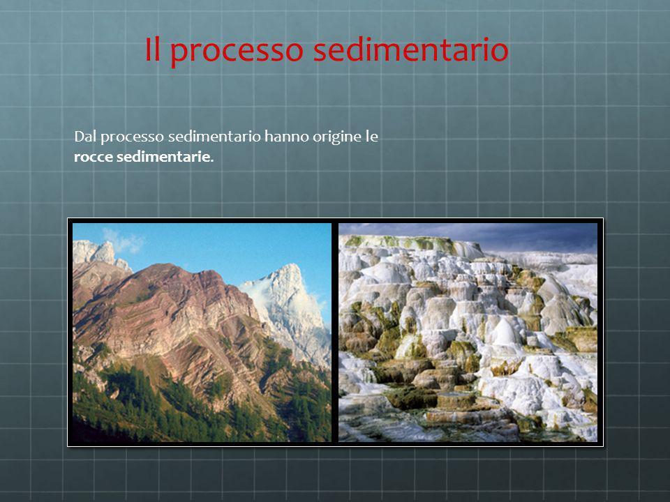Dal processo sedimentario hanno origine le rocce sedimentarie. Il processo sedimentario