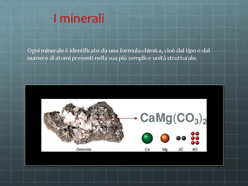 Ogni minerale è identificato da una formula chimica, cioè dal tipo e dal numero di atomi presenti nella sua più semplice unità strutturale. I minerali