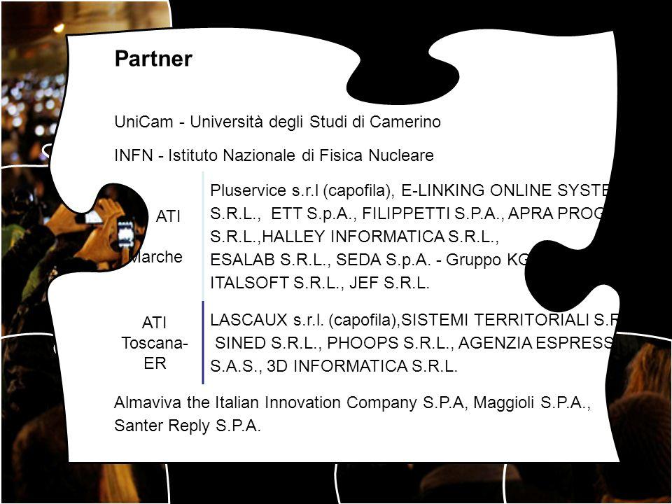 Partner UniCam - Università degli Studi di Camerino INFN - Istituto Nazionale di Fisica Nucleare ATI Marche Pluservice s.r.l (capofila), E-LINKING ONL