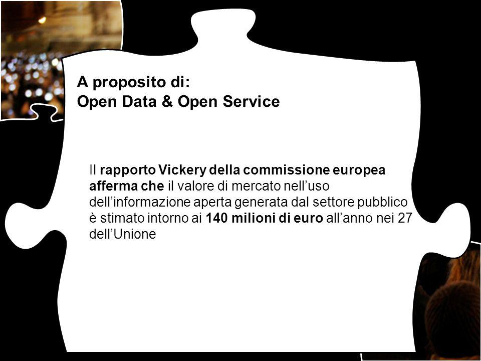 Il rapporto Vickery della commissione europea afferma che il valore di mercato nelluso dellinformazione aperta generata dal settore pubblico è stimato