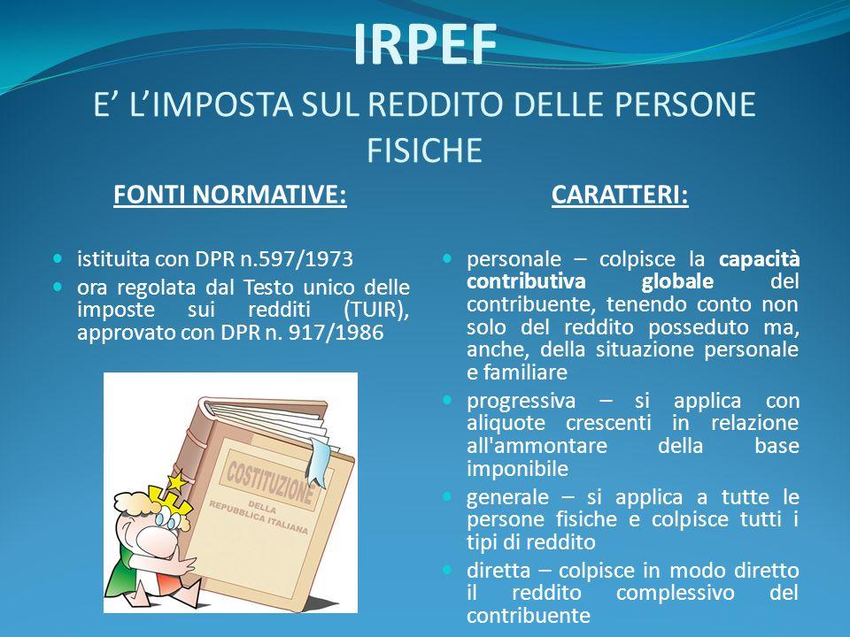 IRPEF E LIMPOSTA SUL REDDITO DELLE PERSONE FISICHE FONTI NORMATIVE: istituita con DPR n.597/1973 ora regolata dal Testo unico delle imposte sui redditi (TUIR), approvato con DPR n.