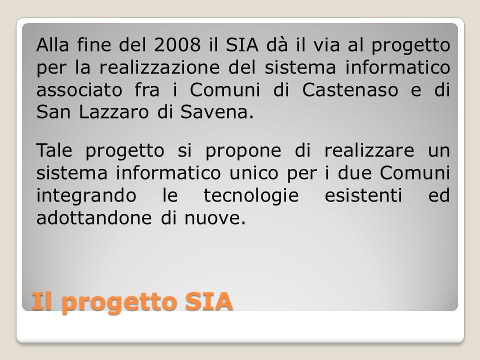 Il progetto SIA Alla fine del 2008 il SIA dà il via al progetto per la realizzazione del sistema informatico associato fra i Comuni di Castenaso e di