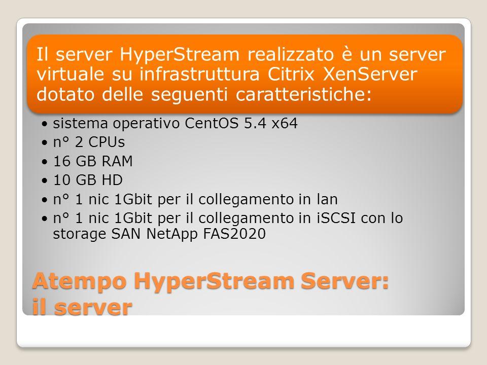 Atempo HyperStream Server: il server Il server HyperStream realizzato è un server virtuale su infrastruttura Citrix XenServer dotato delle seguenti ca
