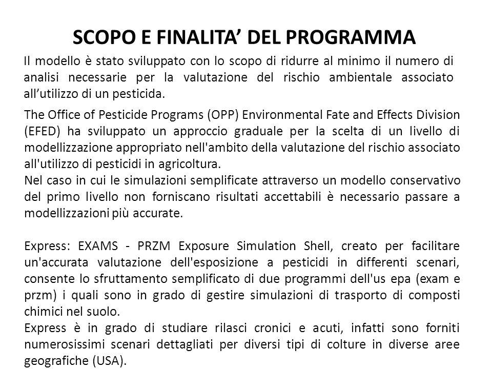 SCOPO E FINALITA DEL PROGRAMMA Il modello è stato sviluppato con lo scopo di ridurre al minimo il numero di analisi necessarie per la valutazione del rischio ambientale associato allutilizzo di un pesticida.