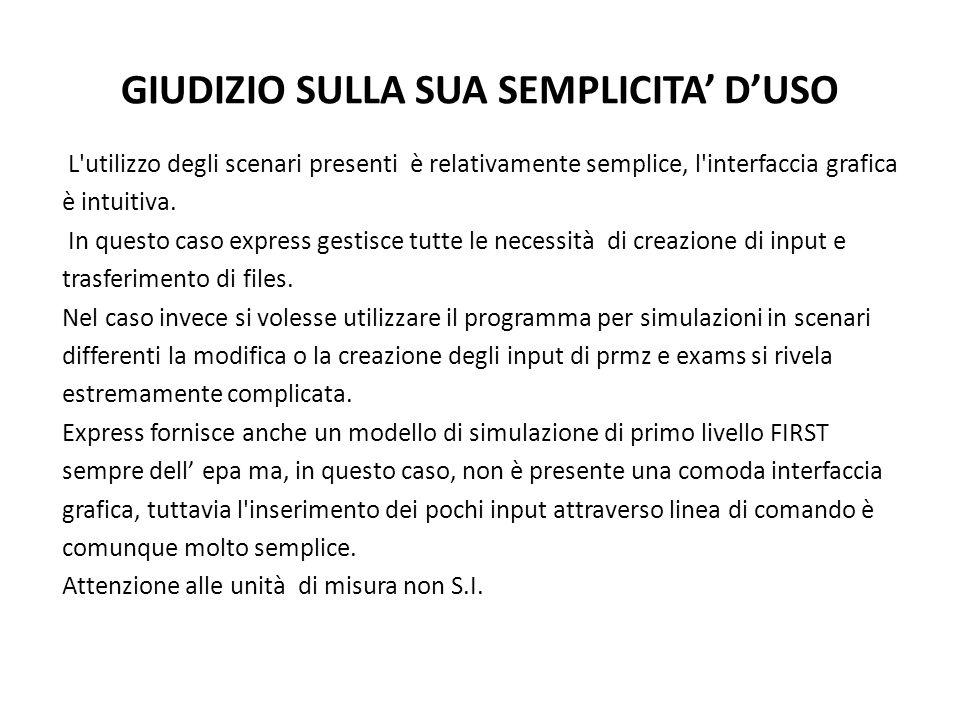 GIUDIZIO SULLA SUA SEMPLICITA DUSO L utilizzo degli scenari presenti è relativamente semplice, l interfaccia grafica è intuitiva.