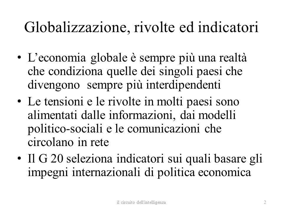 Globalizzazione, rivolte ed indicatori Leconomia globale è sempre più una realtà che condiziona quelle dei singoli paesi che divengono sempre più inte