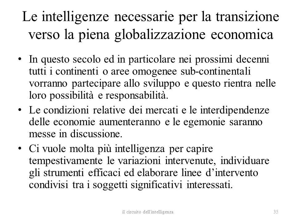 Le intelligenze necessarie per la transizione verso la piena globalizzazione economica In questo secolo ed in particolare nei prossimi decenni tutti i