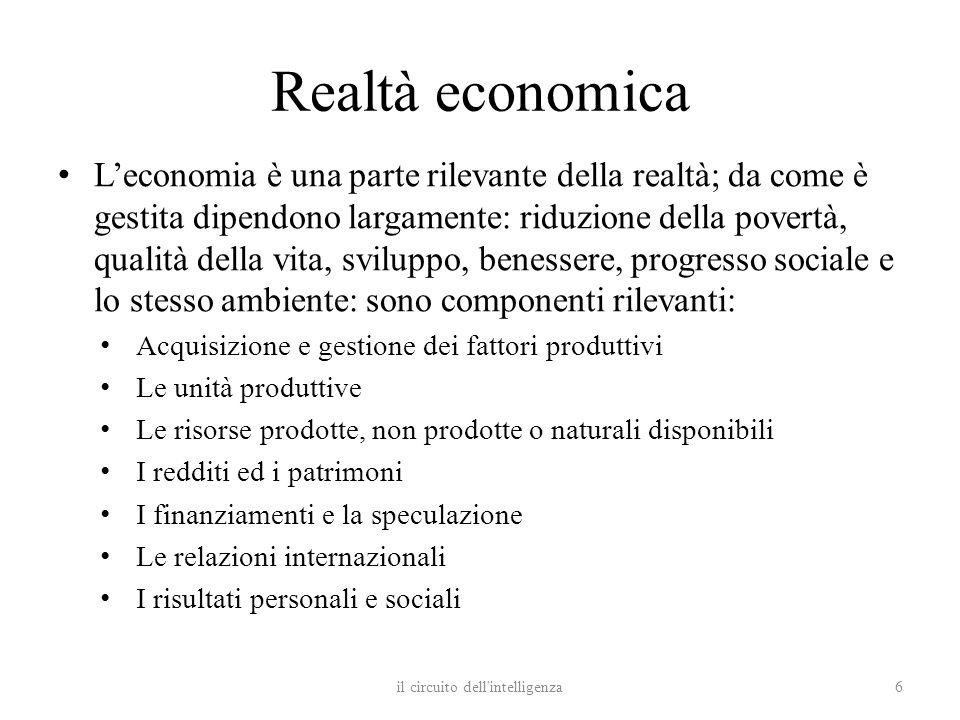 Realtà economica Leconomia è una parte rilevante della realtà; da come è gestita dipendono largamente: riduzione della povertà, qualità della vita, sv