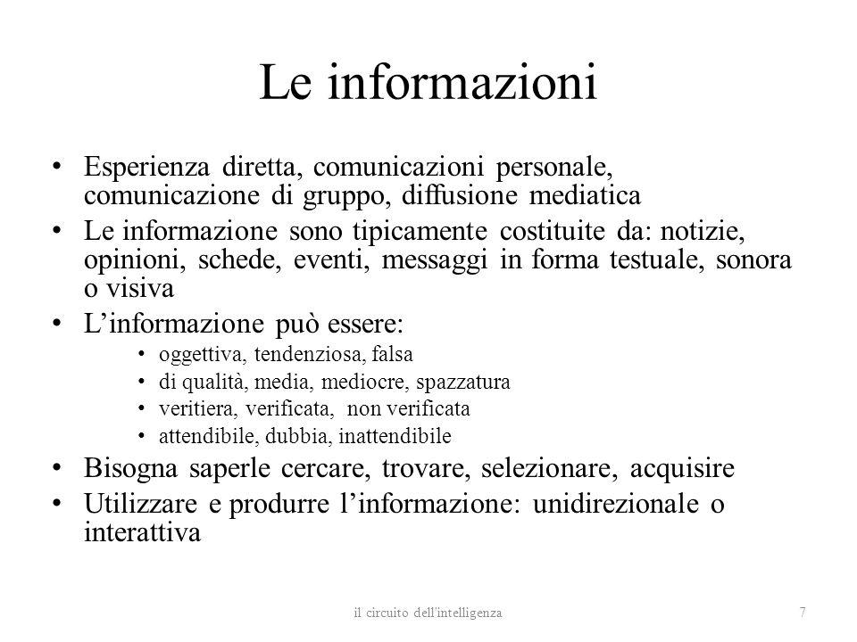 Le informazioni Esperienza diretta, comunicazioni personale, comunicazione di gruppo, diffusione mediatica Le informazione sono tipicamente costituite