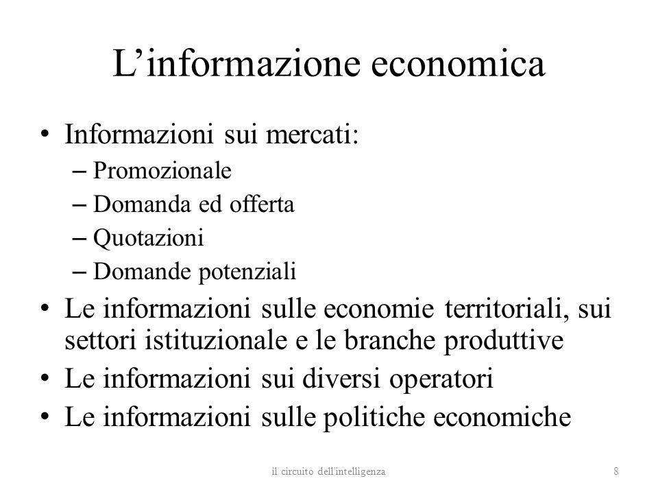 Linformazione economica Informazioni sui mercati: – Promozionale – Domanda ed offerta – Quotazioni – Domande potenziali Le informazioni sulle economie