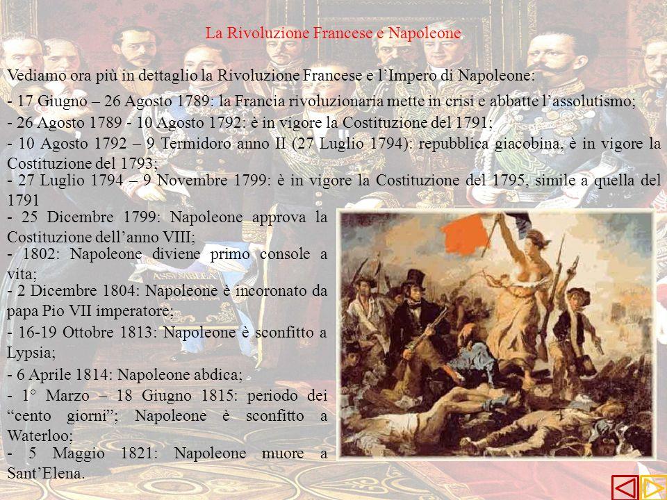 - 17 Giugno – 26 Agosto 1789: la Francia rivoluzionaria mette in crisi e abbatte lassolutismo; - 26 Agosto 1789 - 10 Agosto 1792: è in vigore la Costi