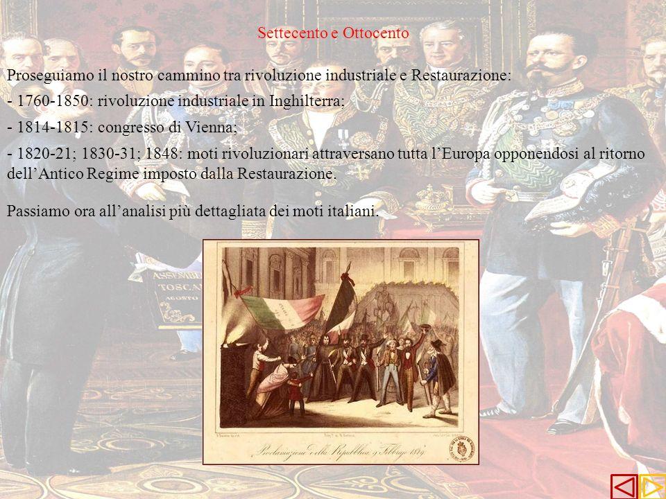 Settecento e Ottocento Proseguiamo il nostro cammino tra rivoluzione industriale e Restaurazione: - 1760-1850: rivoluzione industriale in Inghilterra;