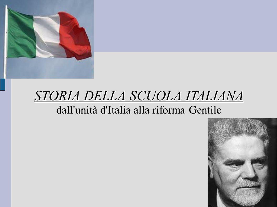 STORIA DELLA SCUOLA ITALIANA STORIA DELLA SCUOLA ITALIANA dall unità d Italia alla riforma Gentile