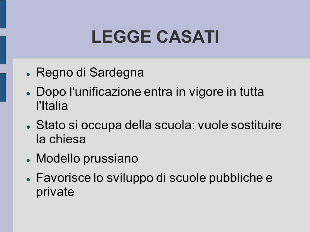 LEGGE CASATI Regno di Sardegna Dopo l unificazione entra in vigore in tutta l Italia Stato si occupa della scuola: vuole sostituire la chiesa Modello prussiano Favorisce lo sviluppo di scuole pubbliche e private