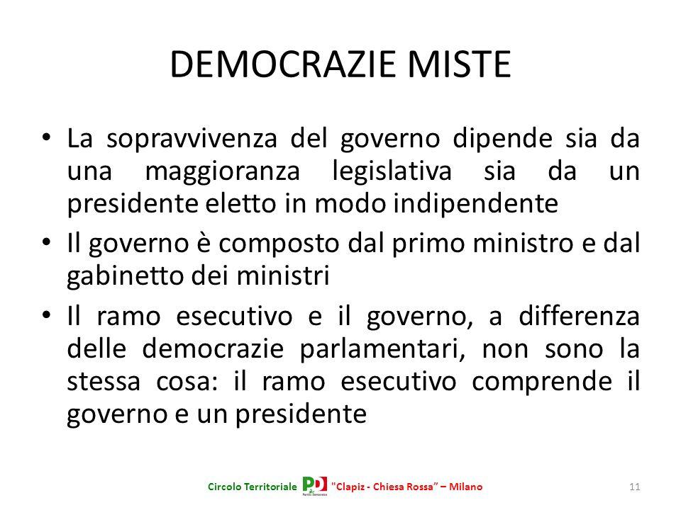 DEMOCRAZIE MISTE La sopravvivenza del governo dipende sia da una maggioranza legislativa sia da un presidente eletto in modo indipendente Il governo è