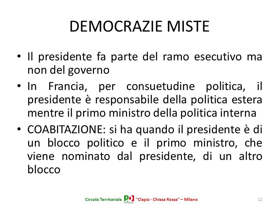 DEMOCRAZIE MISTE Il presidente fa parte del ramo esecutivo ma non del governo In Francia, per consuetudine politica, il presidente è responsabile dell