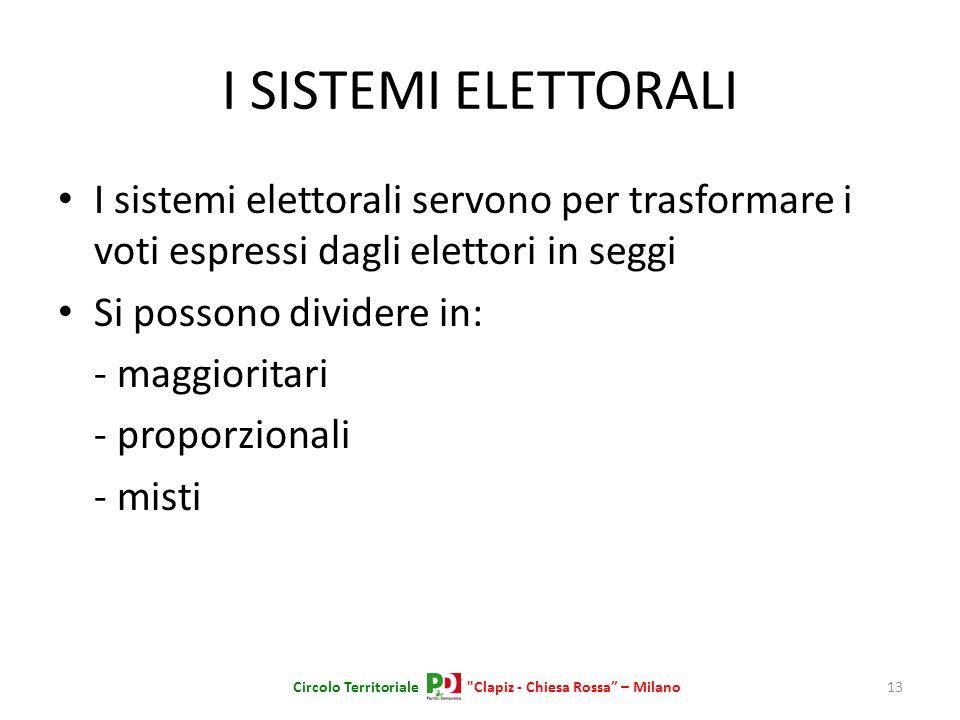 I SISTEMI ELETTORALI I sistemi elettorali servono per trasformare i voti espressi dagli elettori in seggi Si possono dividere in: - maggioritari - pro