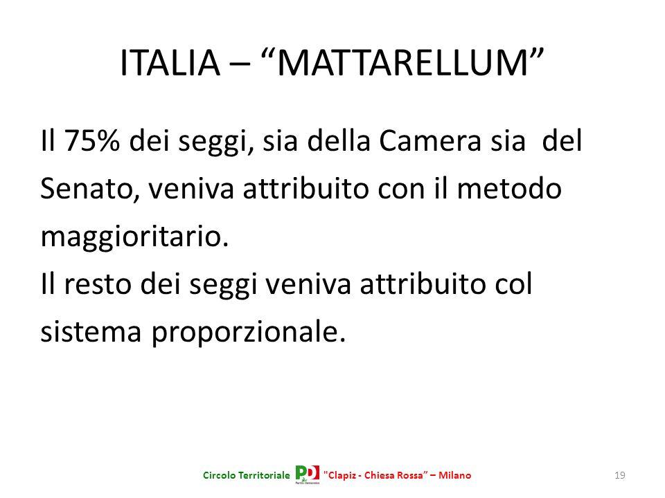 ITALIA – MATTARELLUM Il 75% dei seggi, sia della Camera sia del Senato, veniva attribuito con il metodo maggioritario. Il resto dei seggi veniva attri