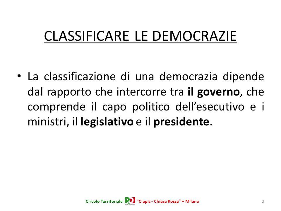 CLASSIFICARE LE DEMOCRAZIE La classificazione di una democrazia dipende dal rapporto che intercorre tra il governo, che comprende il capo politico del