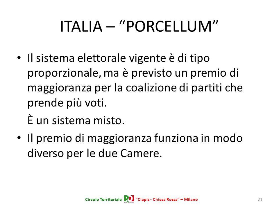 ITALIA – PORCELLUM Il sistema elettorale vigente è di tipo proporzionale, ma è previsto un premio di maggioranza per la coalizione di partiti che pren