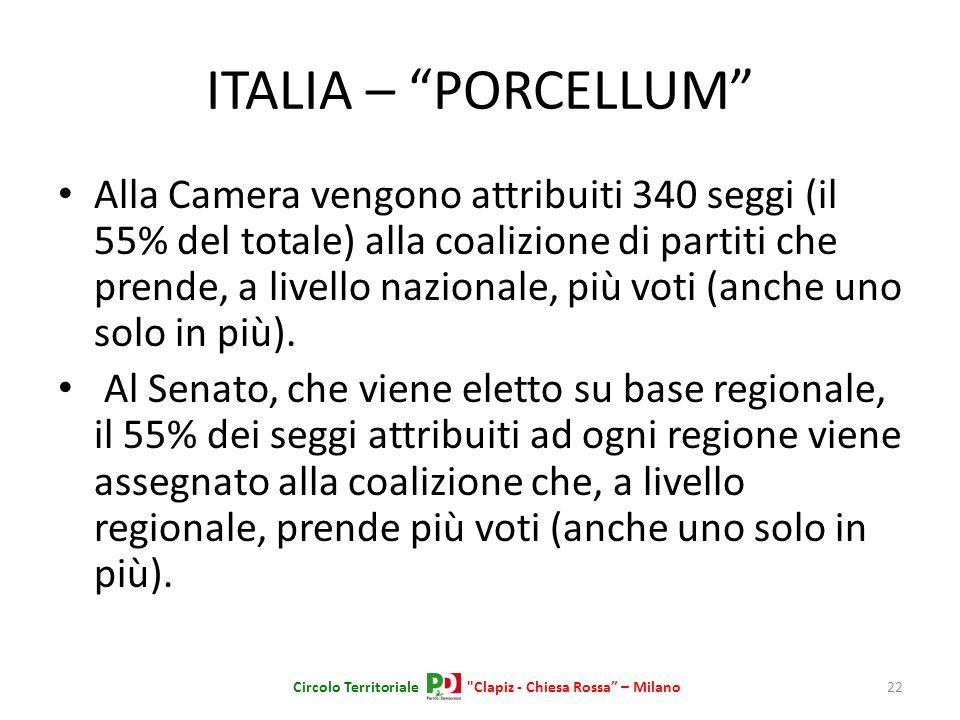 ITALIA – PORCELLUM Alla Camera vengono attribuiti 340 seggi (il 55% del totale) alla coalizione di partiti che prende, a livello nazionale, più voti (