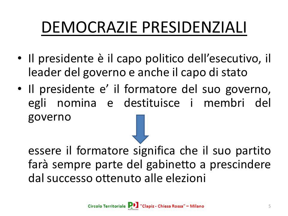 DEMOCRAZIE PRESIDENZIALI Il presidente è il capo politico dellesecutivo, il leader del governo e anche il capo di stato Il presidente e il formatore d