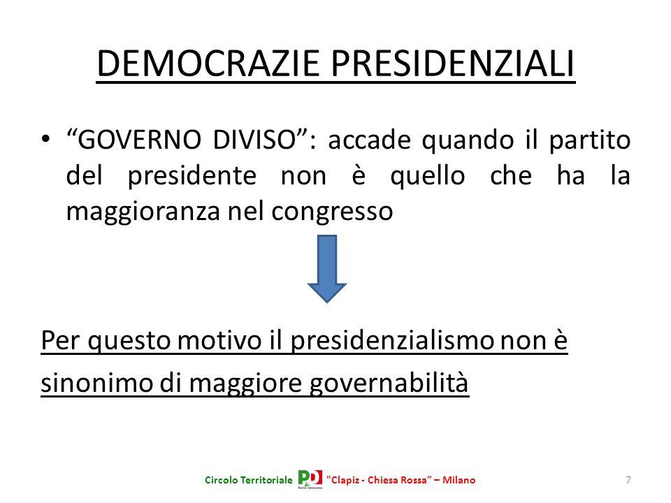 DEMOCRAZIE PRESIDENZIALI GOVERNO DIVISO: accade quando il partito del presidente non è quello che ha la maggioranza nel congresso Per questo motivo il