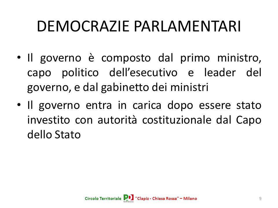 DEMOCRAZIE PARLAMENTARI Il governo è composto dal primo ministro, capo politico dellesecutivo e leader del governo, e dal gabinetto dei ministri Il go