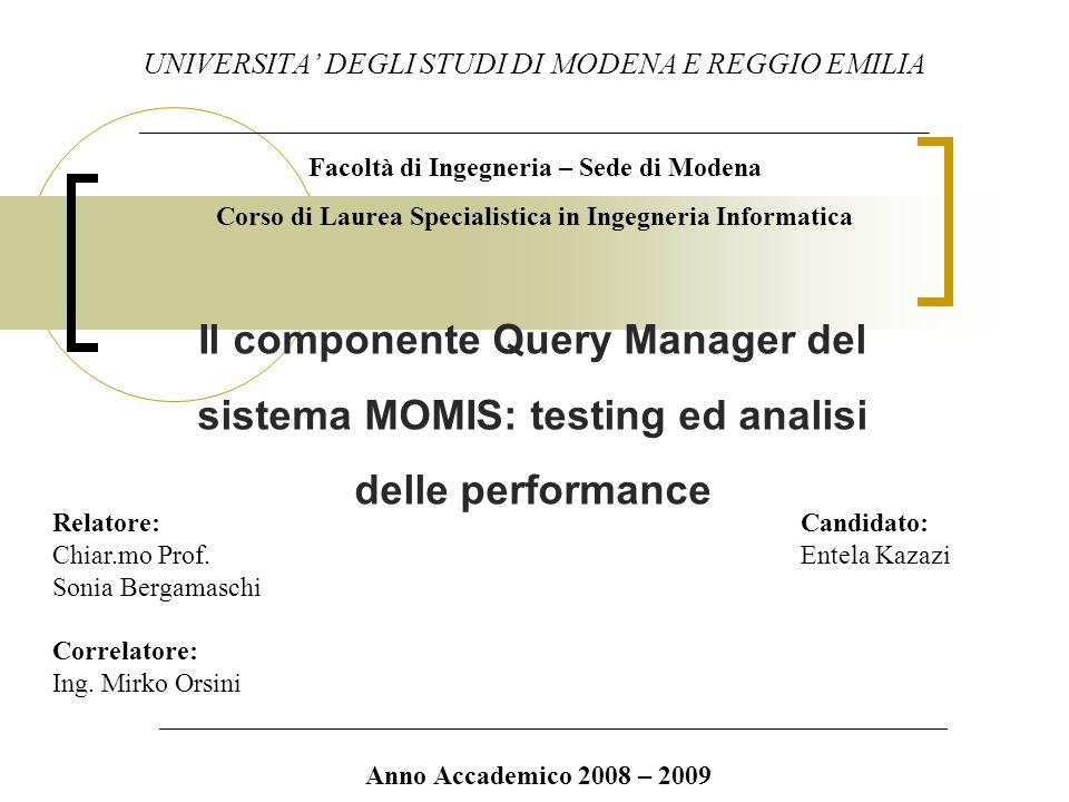 Il componente Query Manager del sistema MOMIS: testing ed analisi delle performance UNIVERSITA DEGLI STUDI DI MODENA E REGGIO EMILIA _____________________________________________________ Facoltà di Ingegneria – Sede di Modena Corso di Laurea Specialistica in Ingegneria Informatica Relatore: Candidato: Chiar.mo Prof.Entela Kazazi Sonia Bergamaschi Correlatore: Ing.