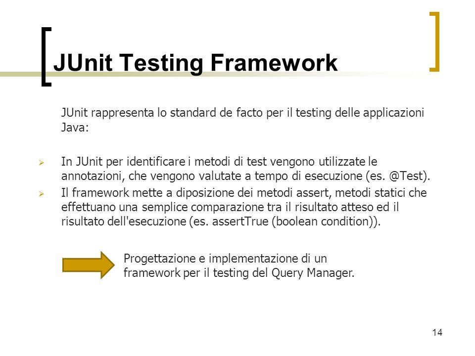 JUnit Testing Framework JUnit rappresenta lo standard de facto per il testing delle applicazioni Java: In JUnit per identificare i metodi di test vengono utilizzate le annotazioni, che vengono valutate a tempo di esecuzione (es.