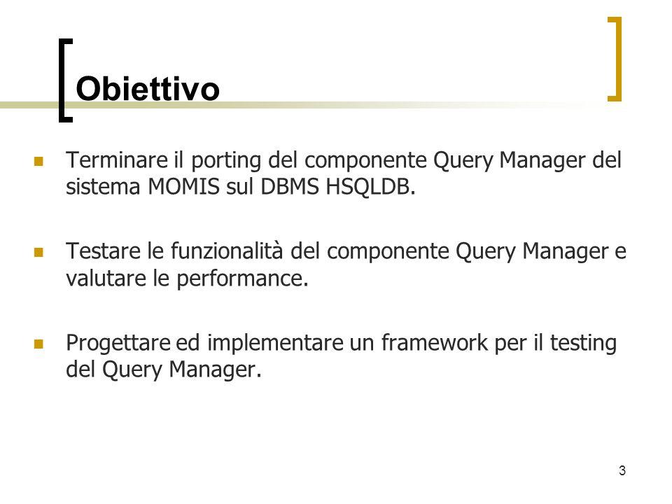Obiettivo Terminare il porting del componente Query Manager del sistema MOMIS sul DBMS HSQLDB. Testare le funzionalità del componente Query Manager e