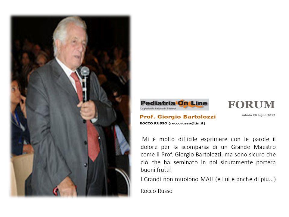 Mi è molto difficile esprimere con le parole il dolore per la scomparsa di un Grande Maestro come il Prof. Giorgio Bartolozzi, ma sono sicuro che ciò