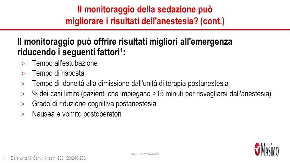 ©2013 Masimo Corporation Il monitoraggio della sedazione può migliorare i risultati dell anestesia.