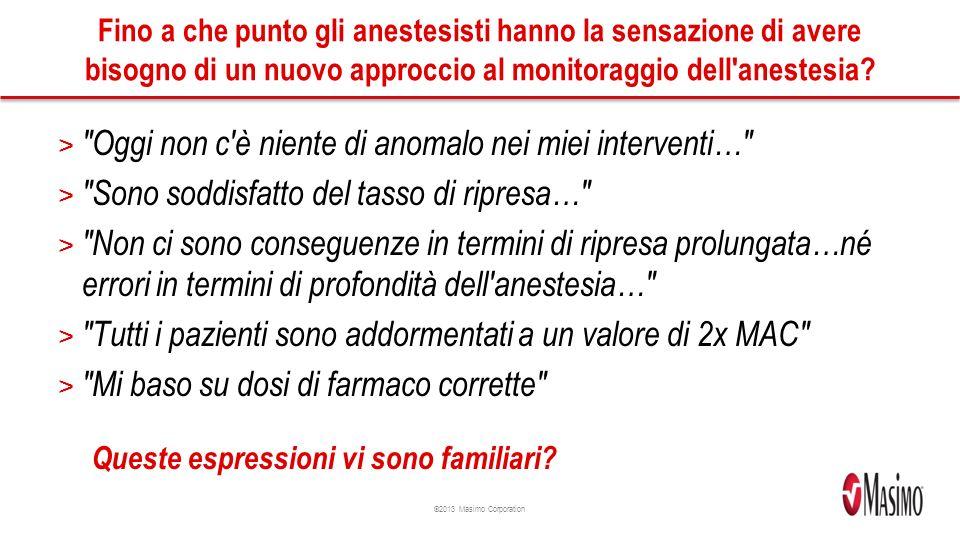 ©2013 Masimo Corporation Fino a che punto gli anestesisti hanno la sensazione di avere bisogno di un nuovo approccio al monitoraggio dell anestesia.