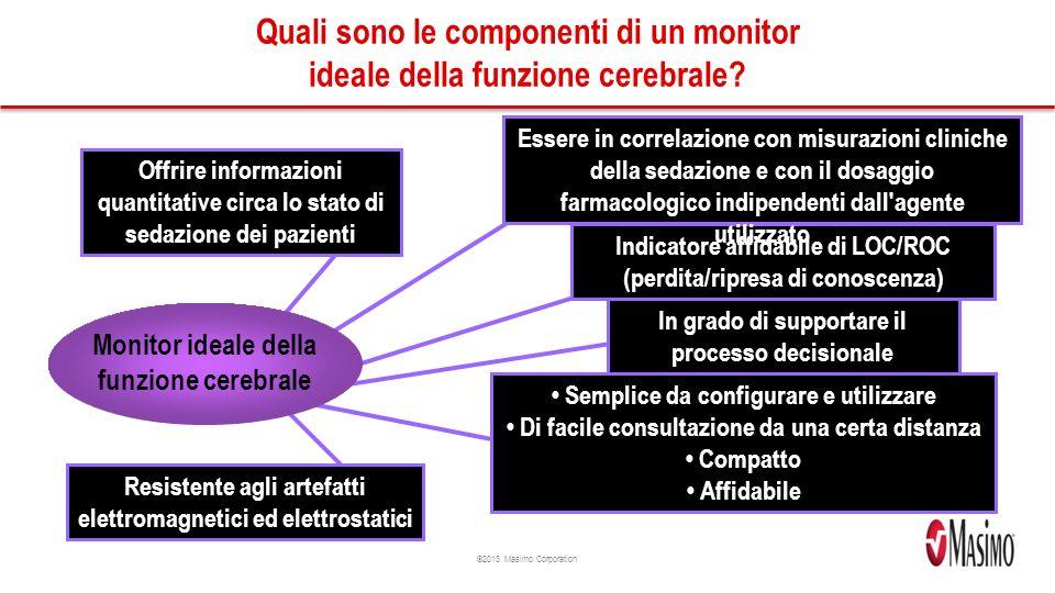 ©2013 Masimo Corporation Quali sono le componenti di un monitor ideale della funzione cerebrale.