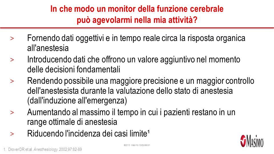©2013 Masimo Corporation In che modo un monitor della funzione cerebrale può agevolarmi nella mia attività.