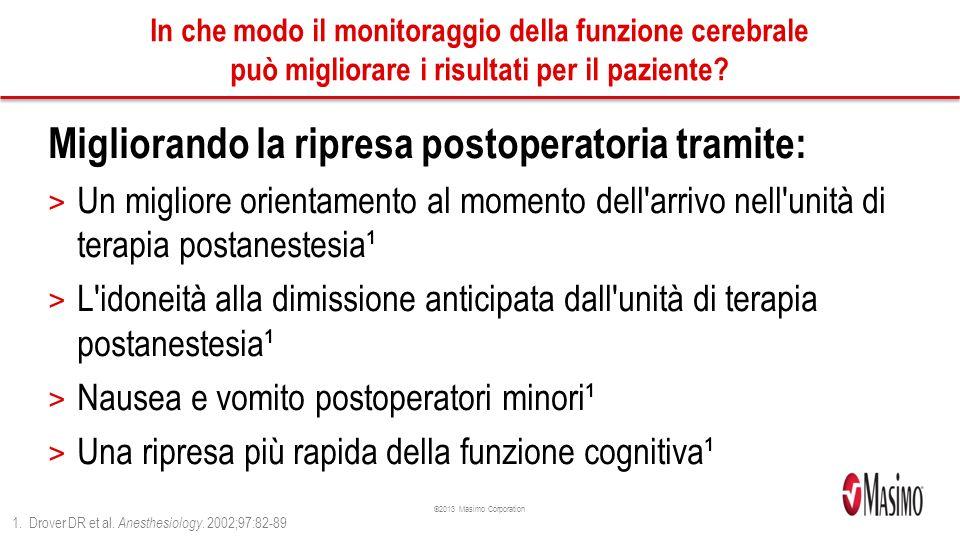 ©2013 Masimo Corporation In che modo il monitoraggio della funzione cerebrale può migliorare i risultati per il paziente.