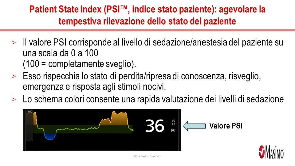 ©2013 Masimo Corporation Patient State Index (PSI, indice stato paziente): agevolare la tempestiva rilevazione dello stato del paziente > Il valore PSI corrisponde al livello di sedazione/anestesia del paziente su una scala da 0 a 100 (100 = completamente sveglio).