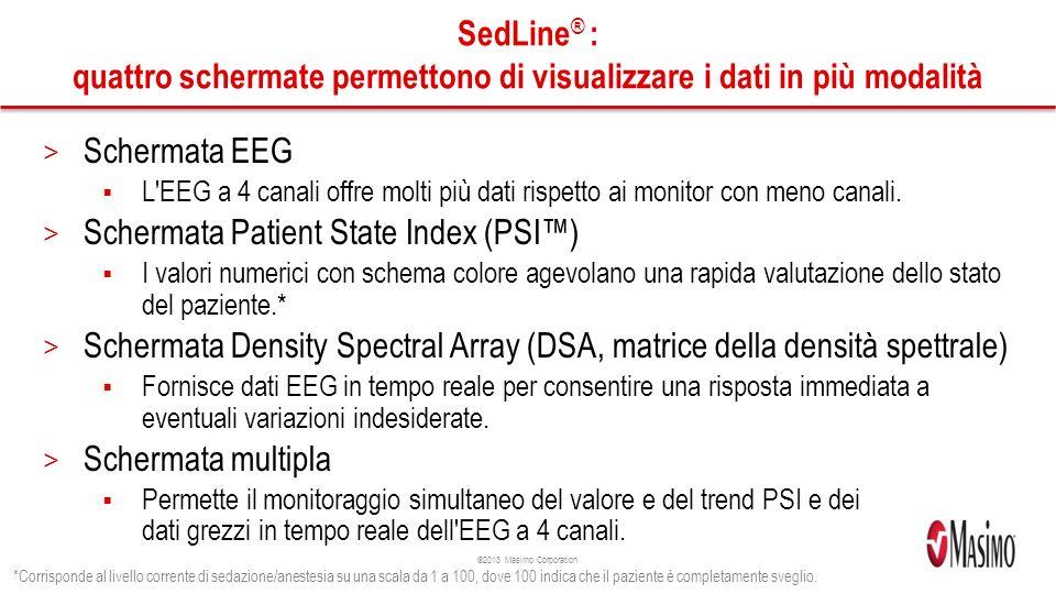 ©2013 Masimo Corporation SedLine ® : quattro schermate permettono di visualizzare i dati in più modalità > Schermata EEG L EEG a 4 canali offre molti più dati rispetto ai monitor con meno canali.