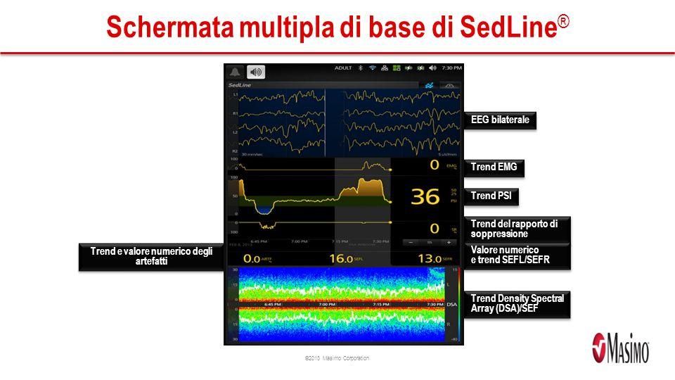 ©2013 Masimo Corporation Schermata multipla di base di SedLine ® EEG bilaterale Trend EMG Trend PSI Trend del rapporto di soppressione Trend e valore numerico degli artefatti Trend Density Spectral Array (DSA)/SEF Valore numerico e trend SEFL/SEFR