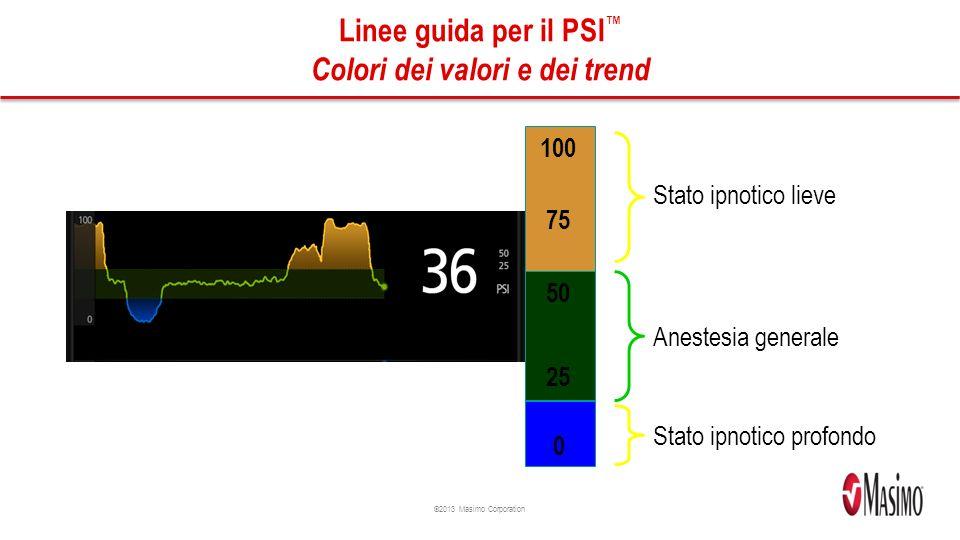 ©2013 Masimo Corporation Linee guida per il PSI Colori dei valori e dei trend 100 50 25 75 Anestesia generale Stato ipnotico lieve Stato ipnotico profondo 0