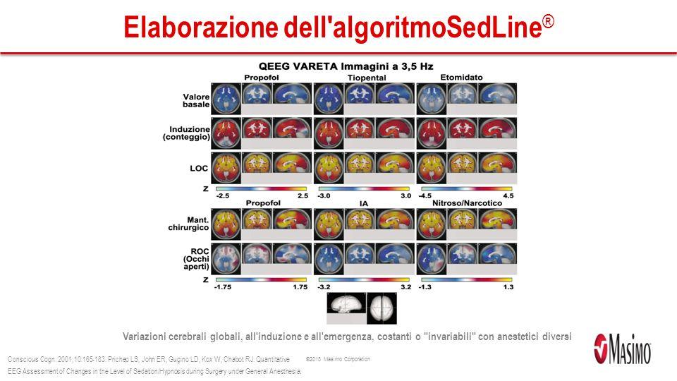 ©2013 Masimo Corporation Elaborazione dell algoritmoSedLine ® Variazioni cerebrali globali, all induzione e all emergenza, costanti o invariabili con anestetici diversi Conscious Cogn.