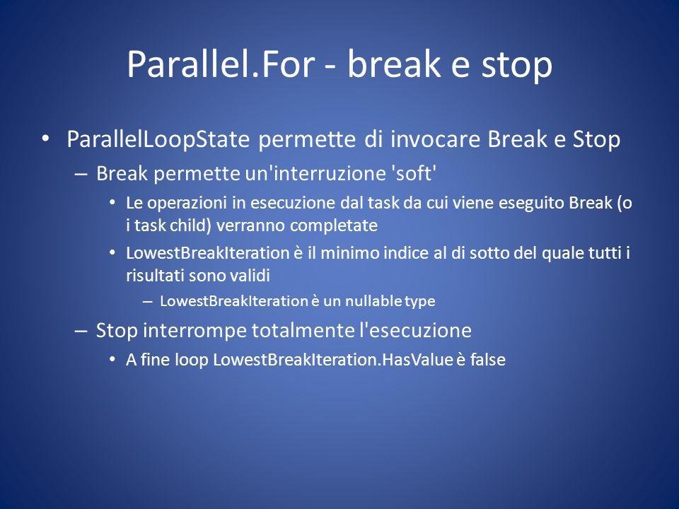 Parallel.For - break e stop ParallelLoopState permette di invocare Break e Stop – Break permette un'interruzione 'soft' Le operazioni in esecuzione da