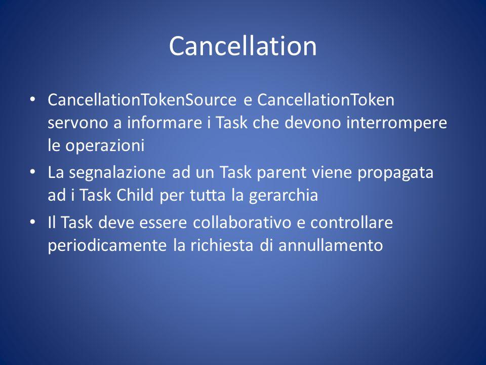 Cancellation CancellationTokenSource e CancellationToken servono a informare i Task che devono interrompere le operazioni La segnalazione ad un Task p