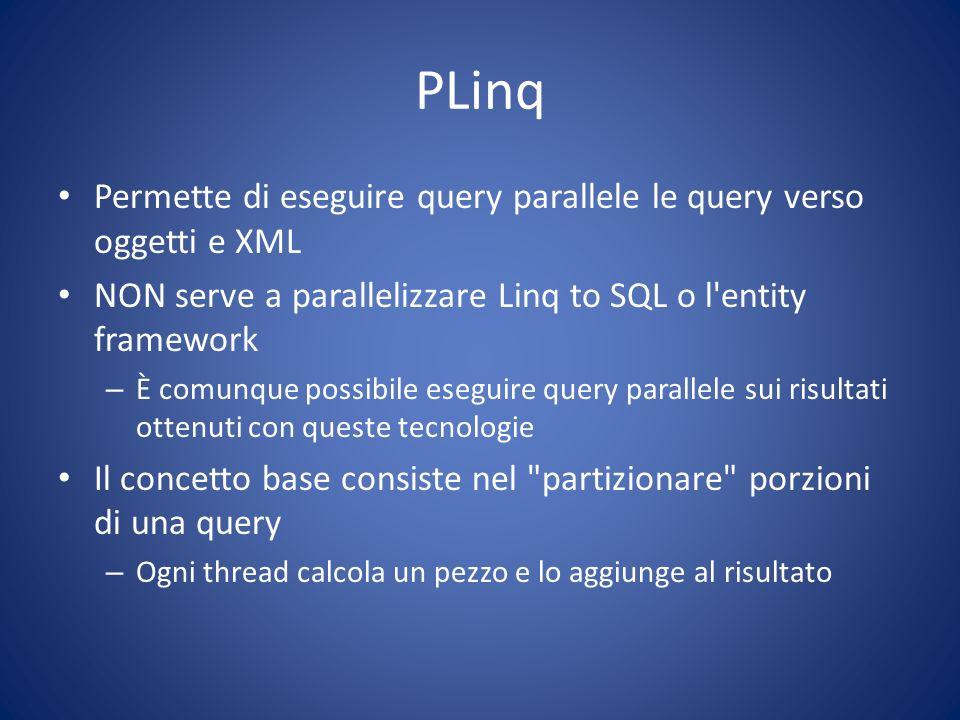 PLinq Permette di eseguire query parallele le query verso oggetti e XML NON serve a parallelizzare Linq to SQL o l'entity framework – È comunque possi