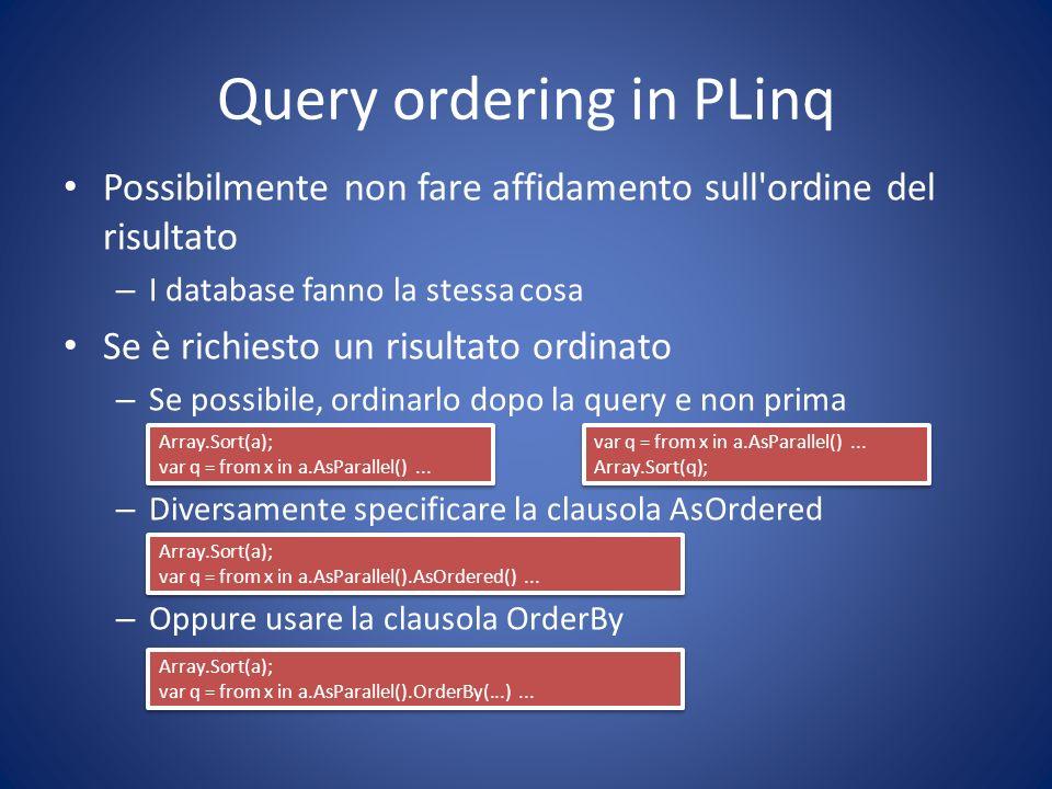 Query ordering in PLinq Possibilmente non fare affidamento sull'ordine del risultato – I database fanno la stessa cosa Se è richiesto un risultato ord