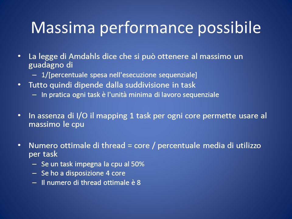 Massima performance possibile La legge di Amdahls dice che si può ottenere al massimo un guadagno di – 1/[percentuale spesa nell'esecuzione sequenzial