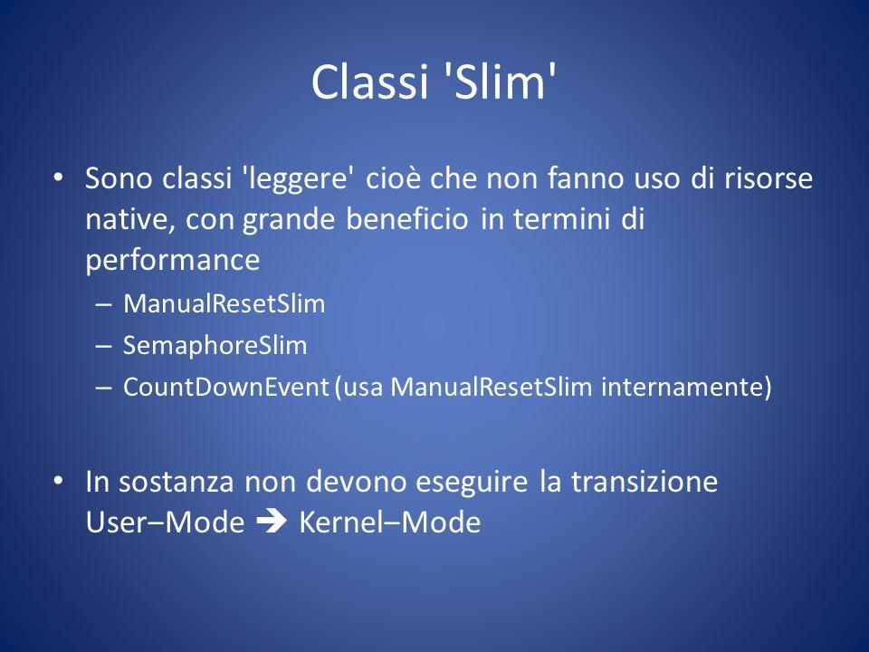 Classi 'Slim' Sono classi 'leggere' cioè che non fanno uso di risorse native, con grande beneficio in termini di performance – ManualResetSlim – Semap