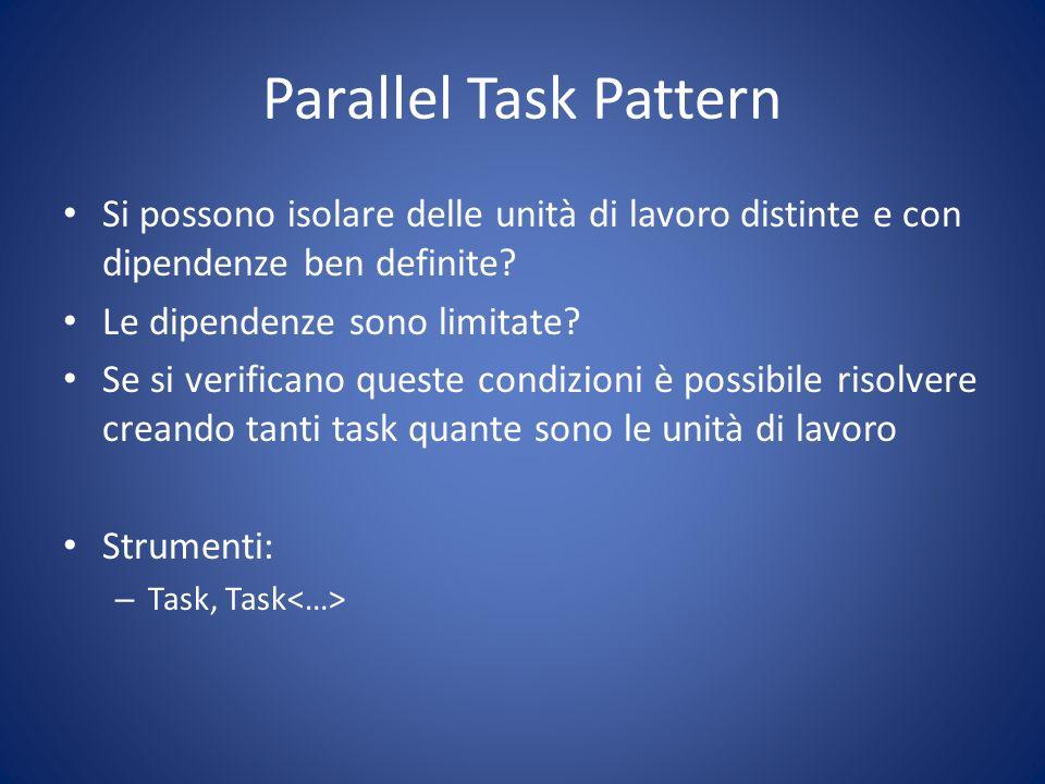 Parallel Task Pattern Si possono isolare delle unità di lavoro distinte e con dipendenze ben definite? Le dipendenze sono limitate? Se si verificano q