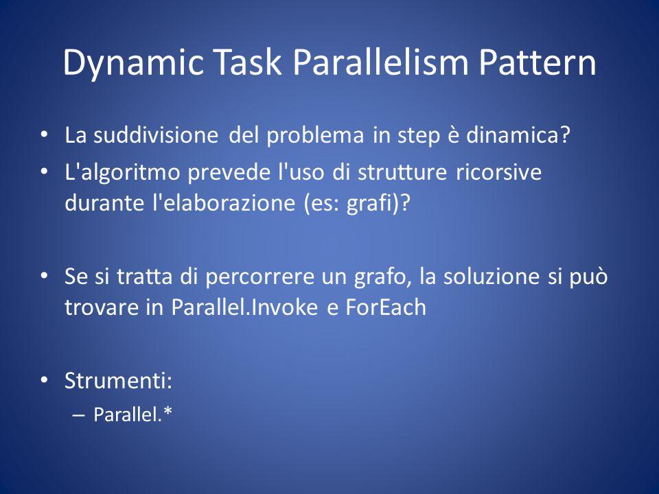 Dynamic Task Parallelism Pattern La suddivisione del problema in step è dinamica? L'algoritmo prevede l'uso di strutture ricorsive durante l'elaborazi